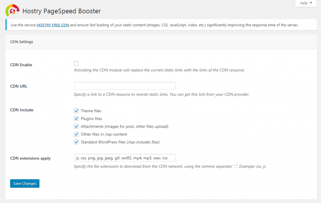 Hostry PageSpeed Booster Plugin for WordPress 3